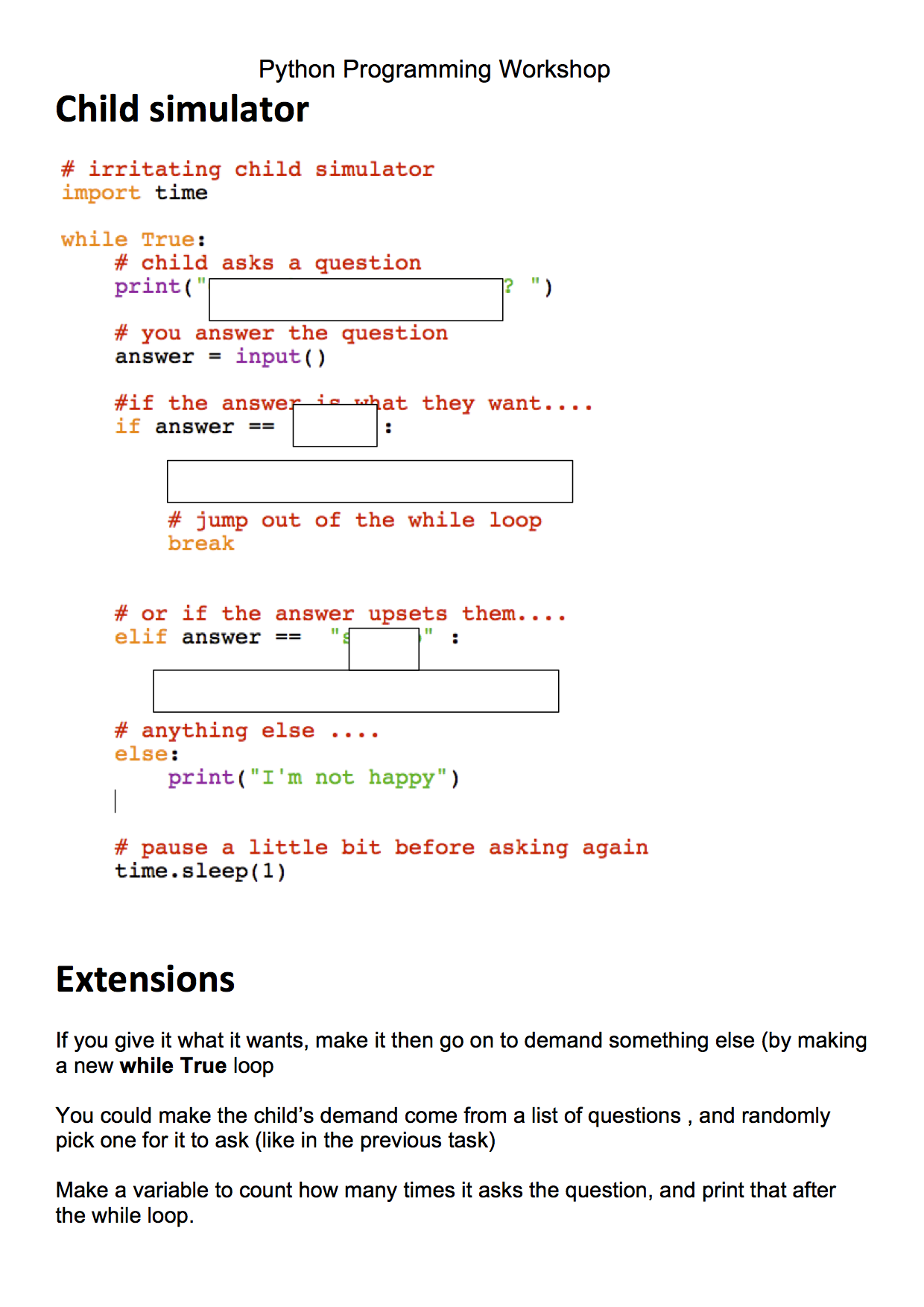 Python Worksheet Worksheets for all | Download and Share ...